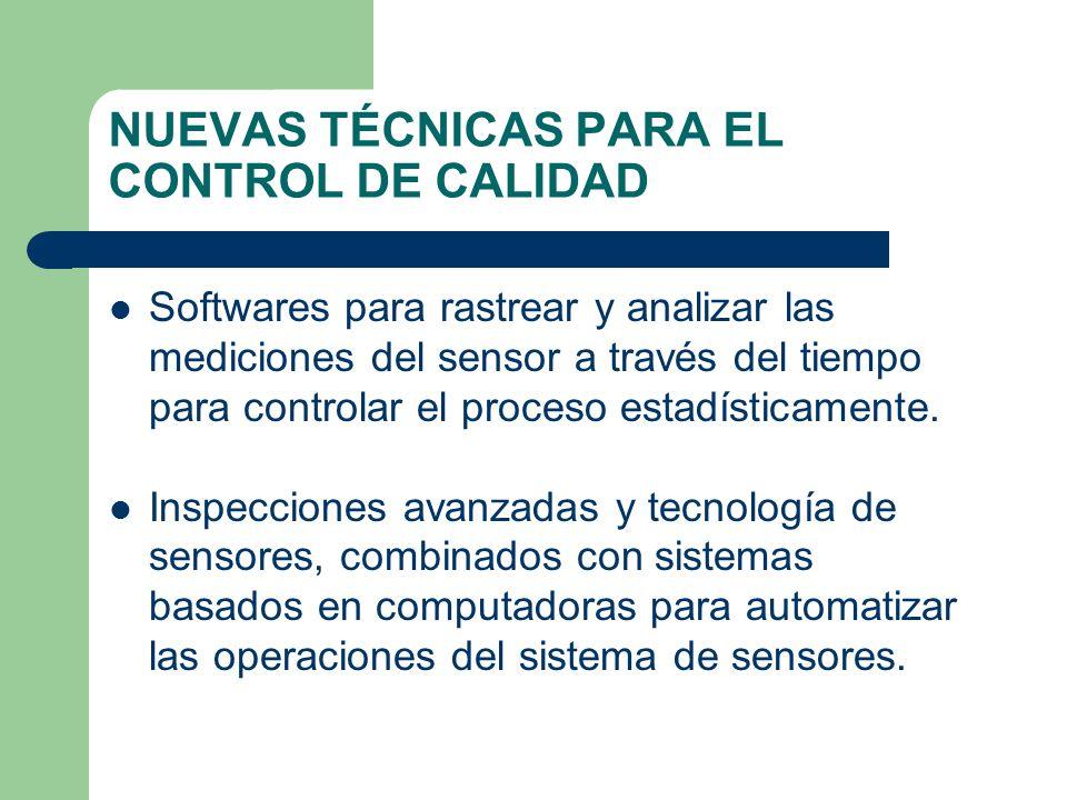NUEVAS TÉCNICAS PARA EL CONTROL DE CALIDAD Softwares para rastrear y analizar las mediciones del sensor a través del tiempo para controlar el proceso estadísticamente.