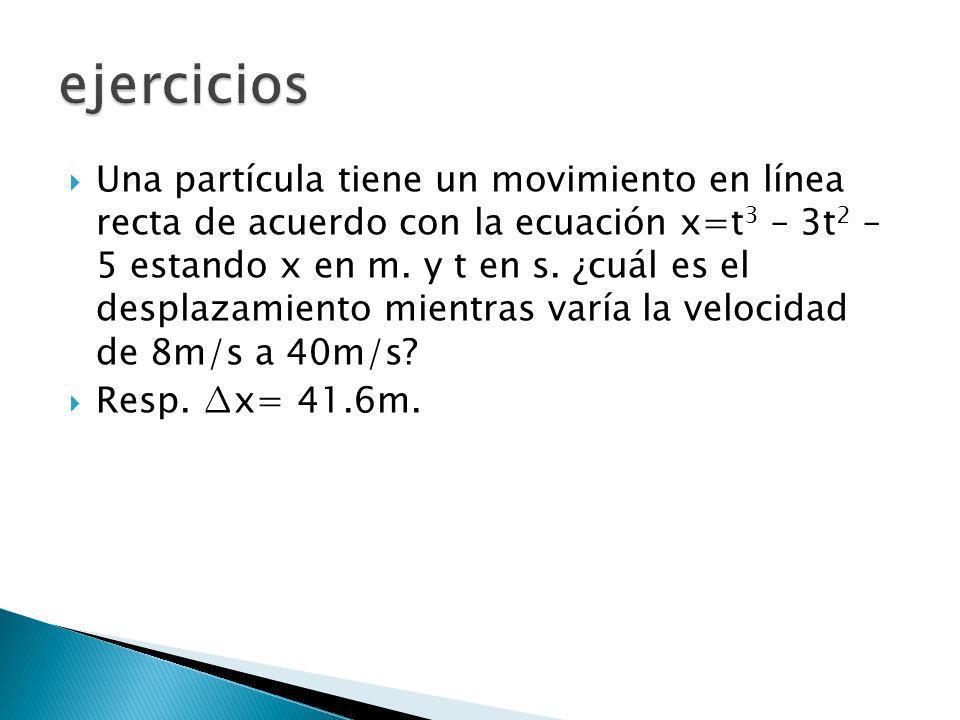 Una partícula tiene un movimiento en línea recta de acuerdo con la ecuación x=t 3 – 3t 2 – 5 estando x en m. y t en s. ¿cuál es el desplazamiento mien