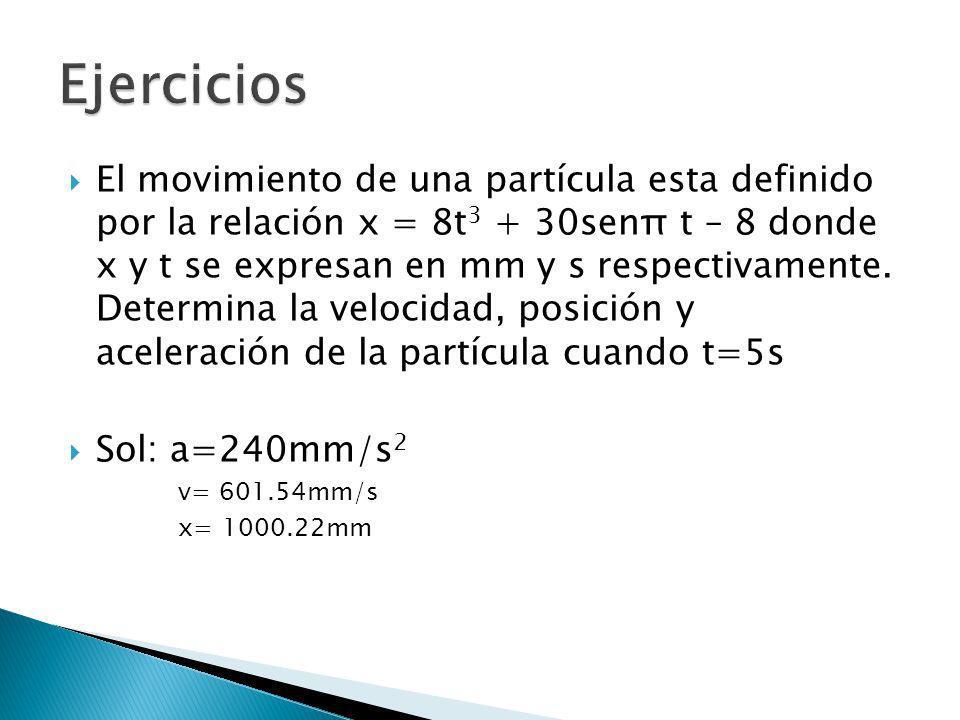 El movimiento de una partícula esta definido por la relación x = 8t 3 + 30senπ t – 8 donde x y t se expresan en mm y s respectivamente. Determina la v