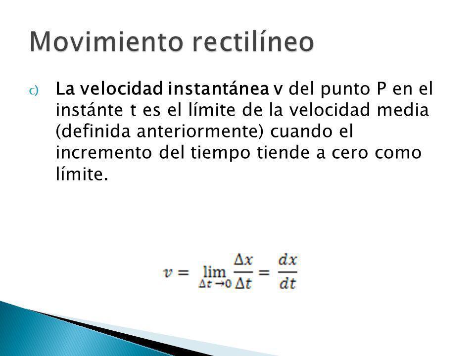 c) La velocidad instantánea v del punto P en el instánte t es el límite de la velocidad media (definida anteriormente) cuando el incremento del tiempo