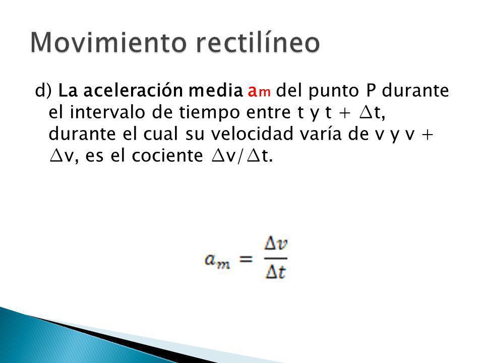 e) La aceleración instantánea a del punto P en el instante t es el límite de la aceleración media cuando el incremento de tiempo tiende aa cero como límite.