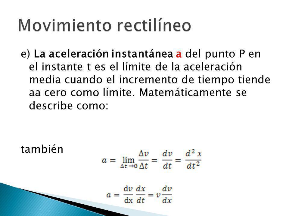 e) La aceleración instantánea a del punto P en el instante t es el límite de la aceleración media cuando el incremento de tiempo tiende aa cero como l