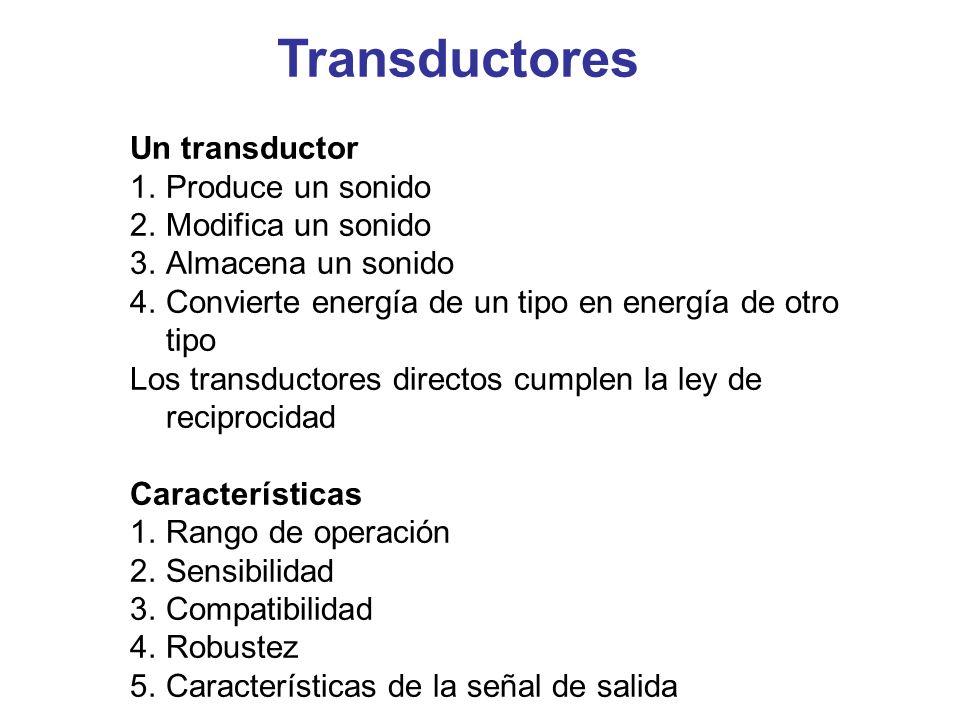 Un transductor 1.Produce un sonido 2.Modifica un sonido 3.Almacena un sonido 4.Convierte energía de un tipo en energía de otro tipo Los transductores