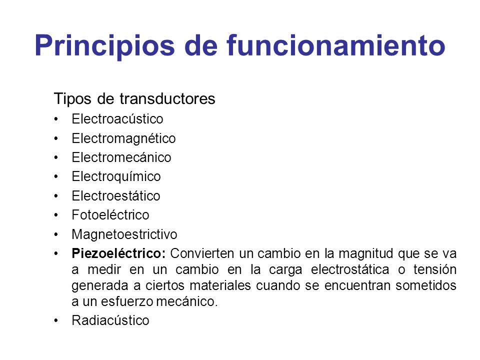 Principios de funcionamiento Tipos de transductores Electroacústico Electromagnético Electromecánico Electroquímico Electroestático Fotoeléctrico Magn