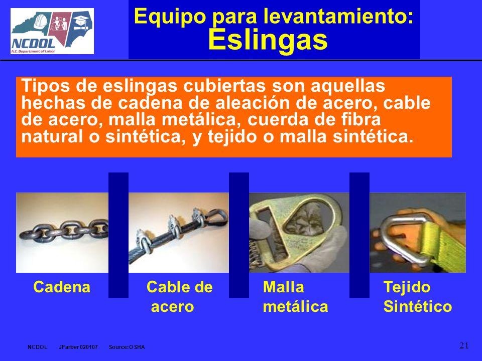 NCDOL JFarber 020107 Source:OSHA 21 Equipo para levantamiento: Eslingas Tipos de eslingas cubiertas son aquellas hechas de cadena de aleación de acero