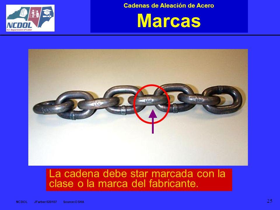 NCDOL JFarber 020107 Source:OSHA 25 Cadenas de Aleación de Acero Marcas La cadena debe star marcada con la clase o la marca del fabricante.