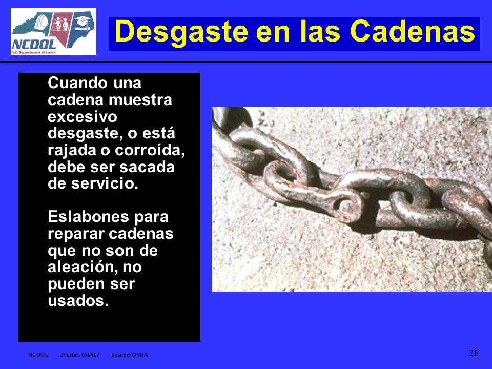 NCDOL JFarber 020107 Source:OSHA 28 Desgaste en las Cadenas Cuando una cadena muestra excesivo desgaste, o está rajada o corroída, debe ser sacada de