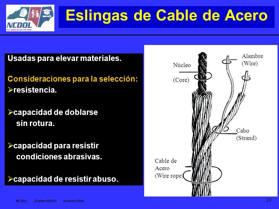 NCDOL JFarber 020107 Source:OSHA 29 Eslingas de Cable de Acero Usadas para elevar materiales. Consideraciones para la selección: resistencia. capacida