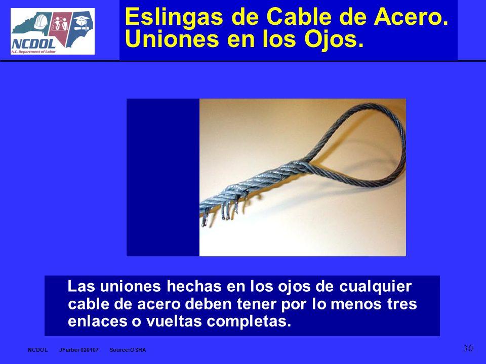 NCDOL JFarber 020107 Source:OSHA 30 Eslingas de Cable de Acero. Uniones en los Ojos. Las uniones hechas en los ojos de cualquier cable de acero deben