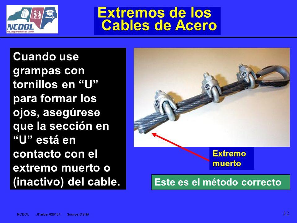 NCDOL JFarber 020107 Source:OSHA 32 Extremos de los Cables de Acero Cuando use grampas con tornillos en U para formar los ojos, asegúrese que la secci