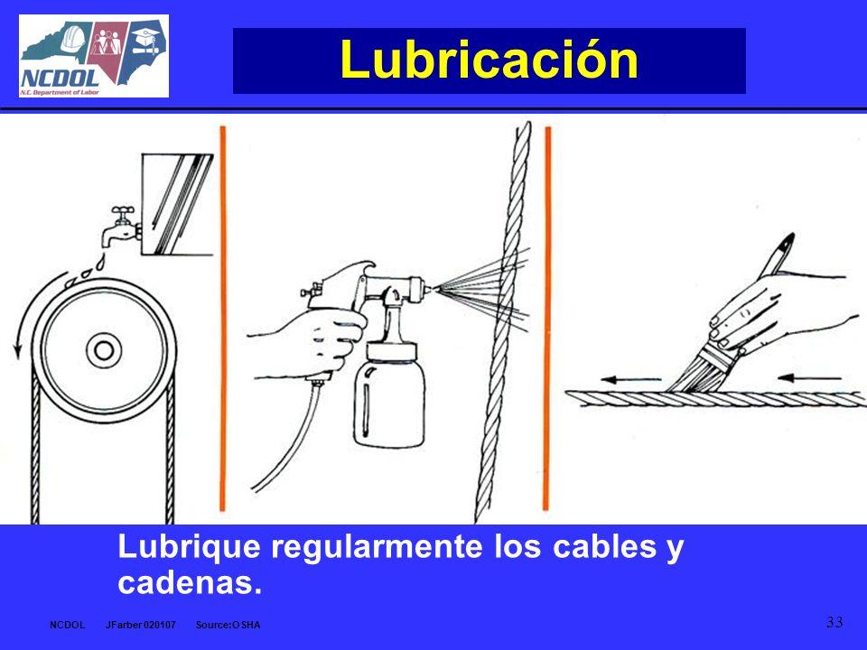 NCDOL JFarber 020107 Source:OSHA 33 Lubricación Lubrique regularmente los cables y cadenas.