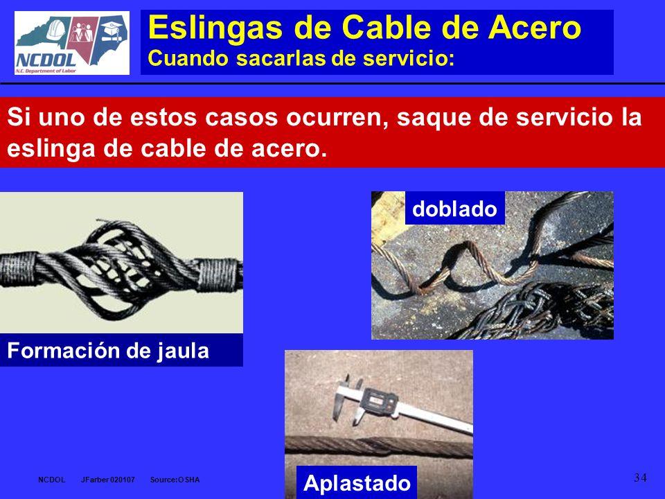 NCDOL JFarber 020107 Source:OSHA 34 Eslingas de Cable de Acero Cuando sacarlas de servicio: Si uno de estos casos ocurren, saque de servicio la esling