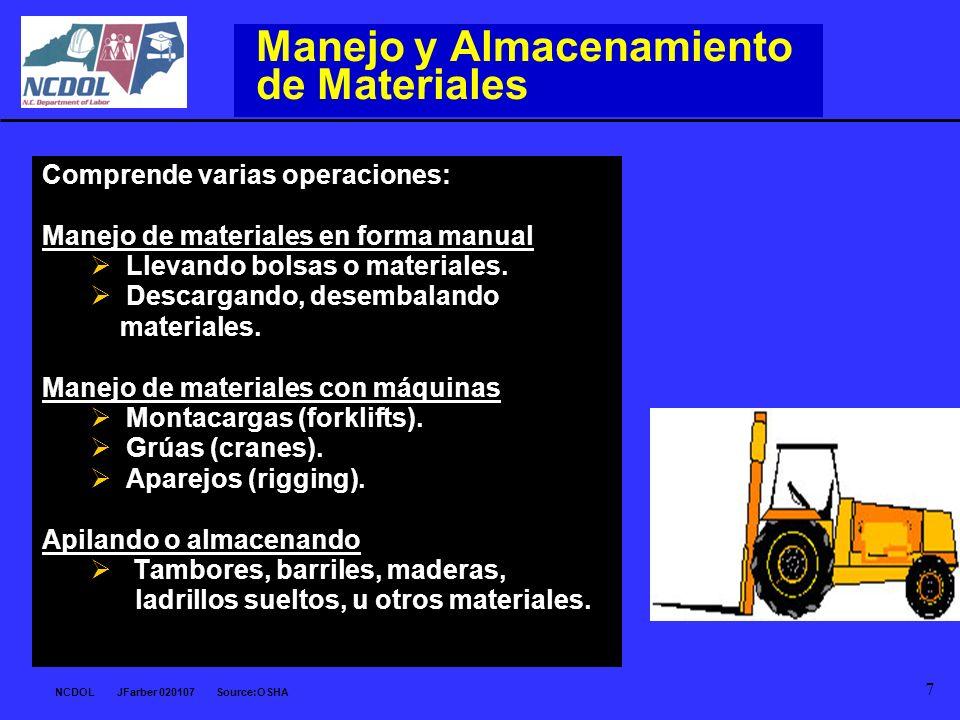 NCDOL JFarber 020107 Source:OSHA 7 Manejo y Almacenamiento de Materiales Comprende varias operaciones: Manejo de materiales en forma manual Llevando b