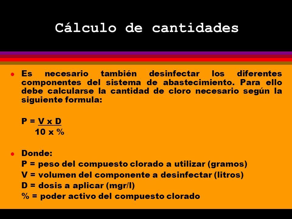 Cálculo de cantidades l Es necesario también desinfectar los diferentes componentes del sistema de abastecimiento.