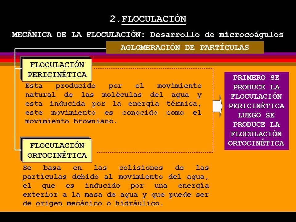 2.FLOCULACIÓN MECÁNICA DE LA FLOCULACIÓN: Desarrollo de microcoágulos FLOCULACIÓN PERICINÉTICA FLOCULACIÓN ORTOCINÉTICA Esta producido por el movimiento natural de las moléculas del agua y esta inducida por la energía térmica, este movimiento es conocido como el movimiento browniano.