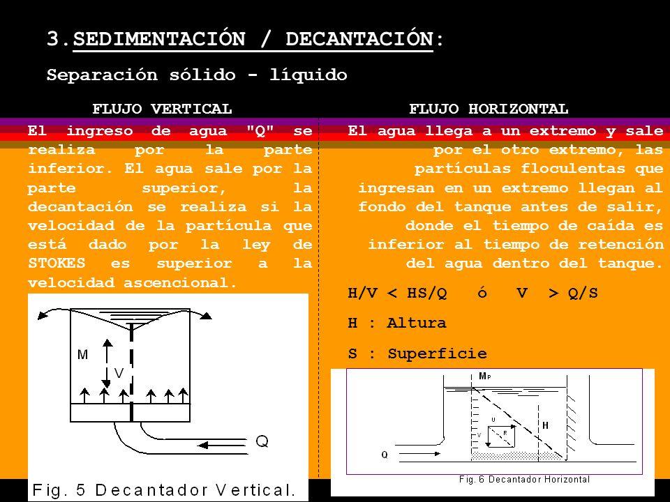 3.SEDIMENTACIÓN / DECANTACIÓN: Separación sólido - líquido FLUJO VERTICALFLUJO HORIZONTAL El ingreso de agua Q se realiza por la parte inferior.
