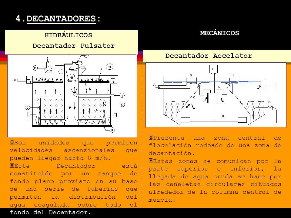 4.DECANTADORES: MECÁNICOS 3Son unidades que permiten velocidades ascensionales que pueden llegar hasta 8 m/h.