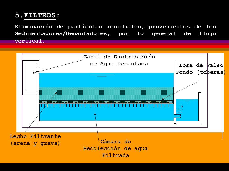 5.FILTROS: Eliminación de partículas residuales, provenientes de los Sedimentadores/Decantadores, por lo general de flujo vertical.
