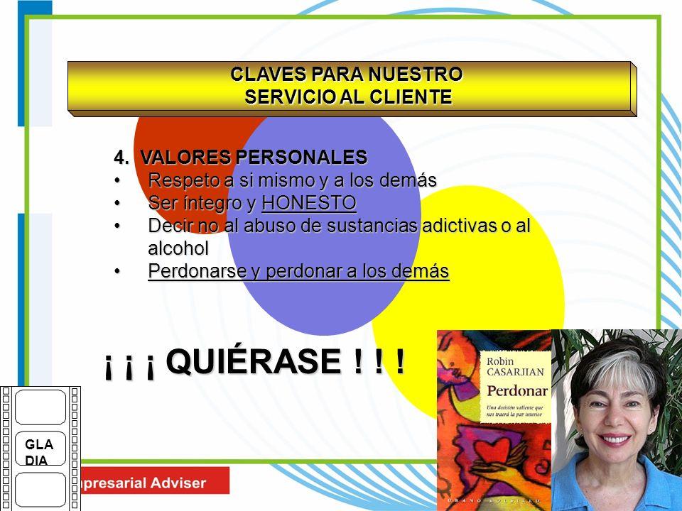 CLAVES PARA NUESTRO SERVICIO AL CLIENTE 4. VALORES PERSONALES Respeto a si mismo y a los demásRespeto a si mismo y a los demás Ser íntegro y HONESTOSe