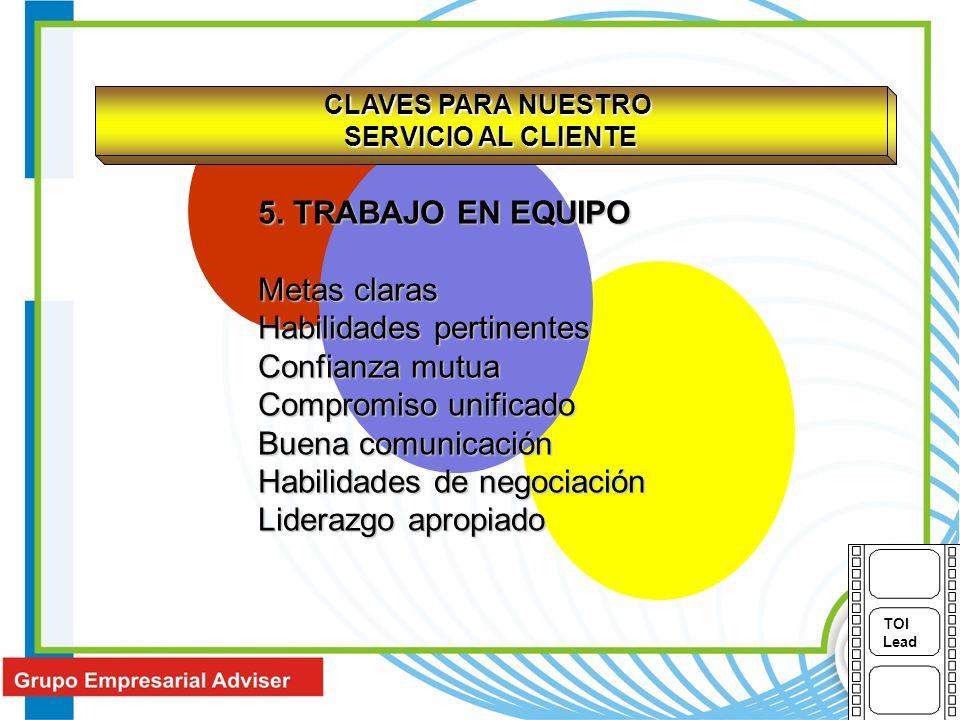 CLAVES PARA NUESTRO SERVICIO AL CLIENTE 5. TRABAJO EN EQUIPO Metas claras Habilidades pertinentes Confianza mutua Compromiso unificado Buena comunicac