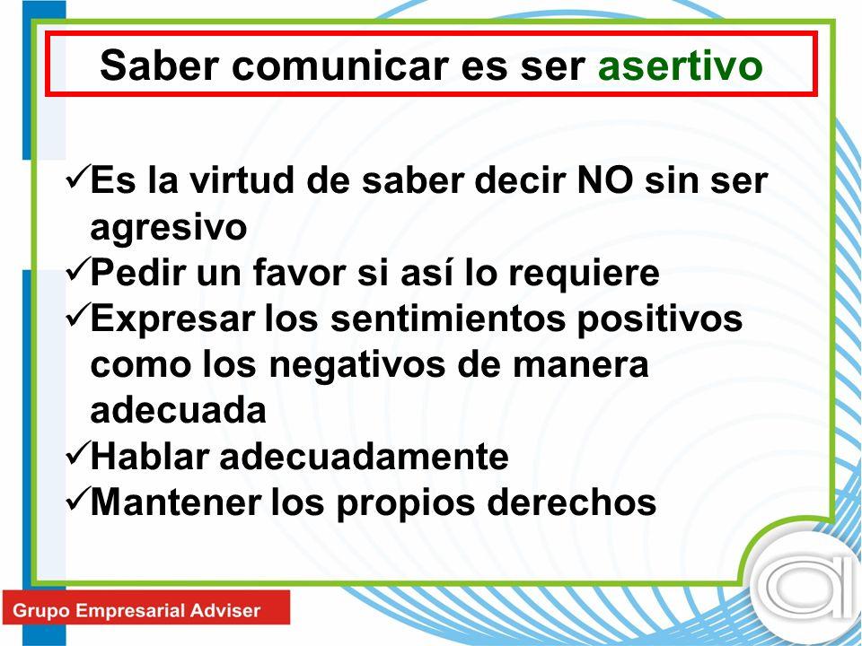 Es la virtud de saber decir NO sin ser agresivo Pedir un favor si así lo requiere Expresar los sentimientos positivos como los negativos de manera ade