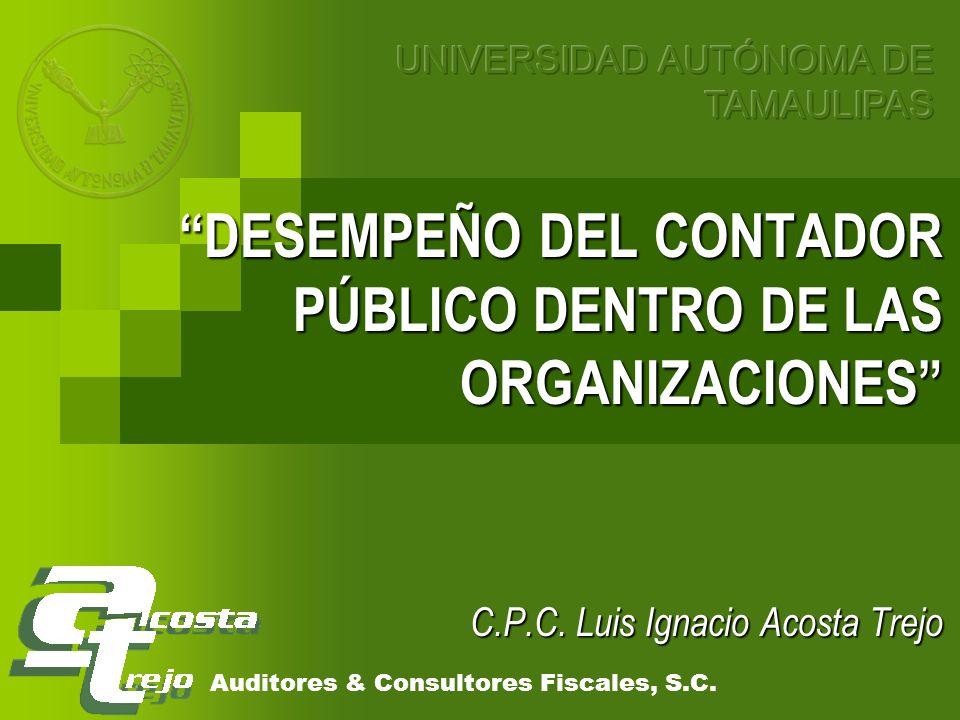DESEMPEÑO DEL CONTADOR PÚBLICO DENTRO DE LAS ORGANIZACIONES DESEMPEÑO DEL CONTADOR PÚBLICO DENTRO DE LAS ORGANIZACIONES C.P.C. Luis Ignacio Acosta Tre