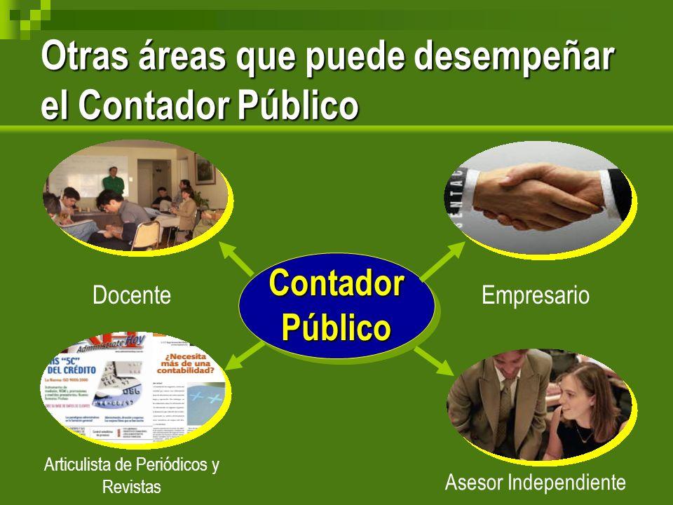 Otras áreas que puede desempeñar el Contador Público ContadorPúblico DocenteEmpresario Asesor Independiente Articulista de Periódicos y Revistas