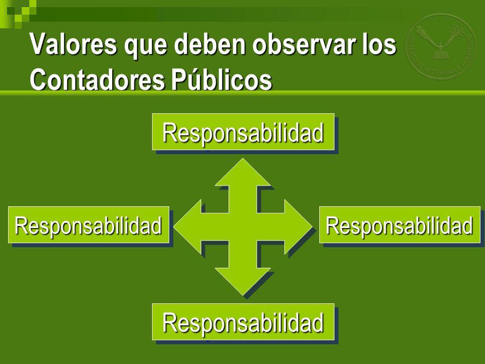 Valores que deben observar los Contadores Públicos ResponsabilidadResponsabilidad ResponsabilidadResponsabilidad ResponsabilidadResponsabilidadRespons