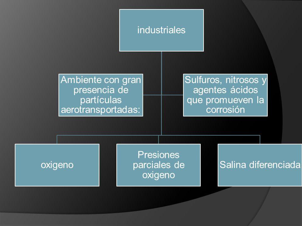 industriales oxigeno Presiones parciales de oxigeno Salina diferenciada Sulfuros, nitrosos y agentes ácidos que promueven la corrosión Ambiente con gr