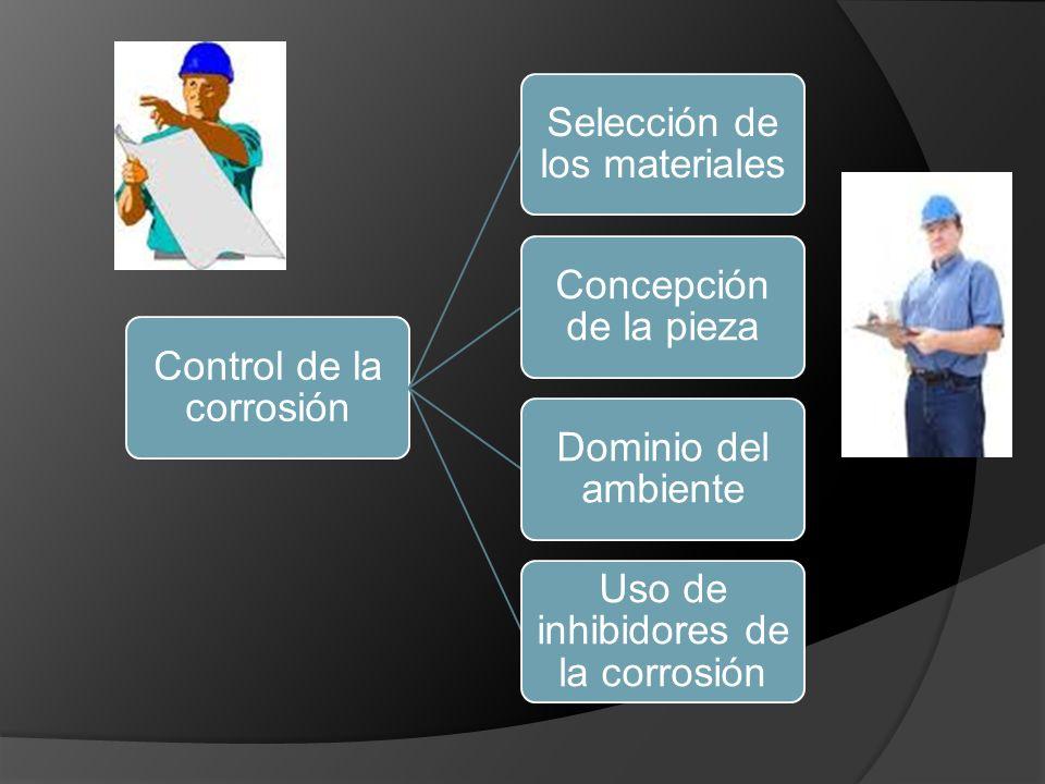 Control de la corrosión Selección de los materiales Concepción de la pieza Dominio del ambiente Uso de inhibidores de la corrosión