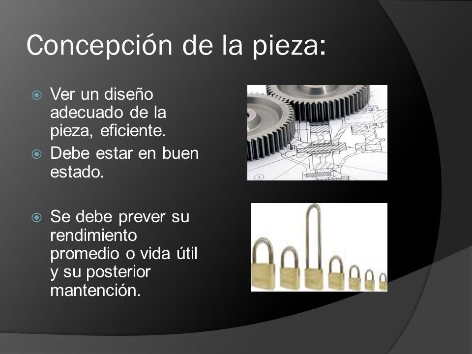 Concepción de la pieza: Ver un diseño adecuado de la pieza, eficiente. Debe estar en buen estado. Se debe prever su rendimiento promedio o vida útil y