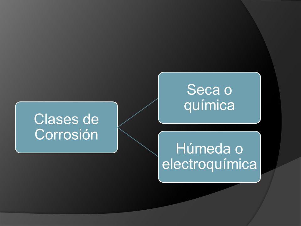 Corrosión seca: Intervienen: Pieza Ambiente Ataque directo Del medio al metal Agua No interviene la corriente eléctrica Intercambio de electrones sin necesidad del par galvánico.