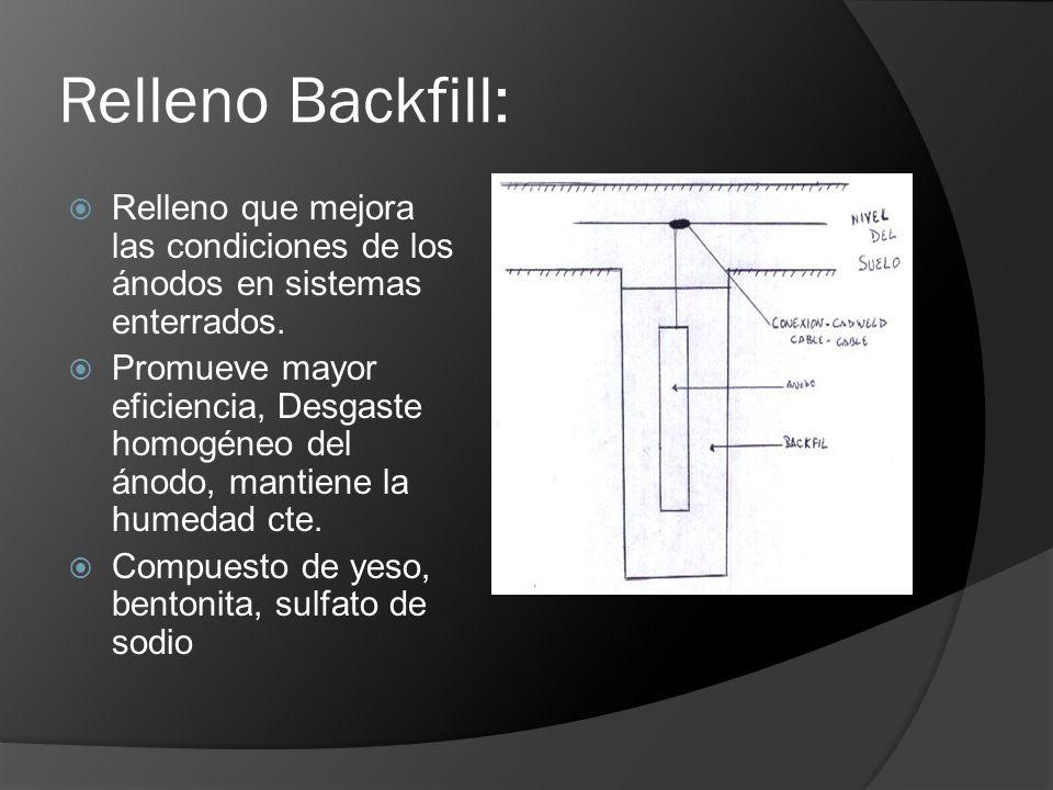Relleno Backfill: Relleno que mejora las condiciones de los ánodos en sistemas enterrados. Promueve mayor eficiencia, Desgaste homogéneo del ánodo, ma