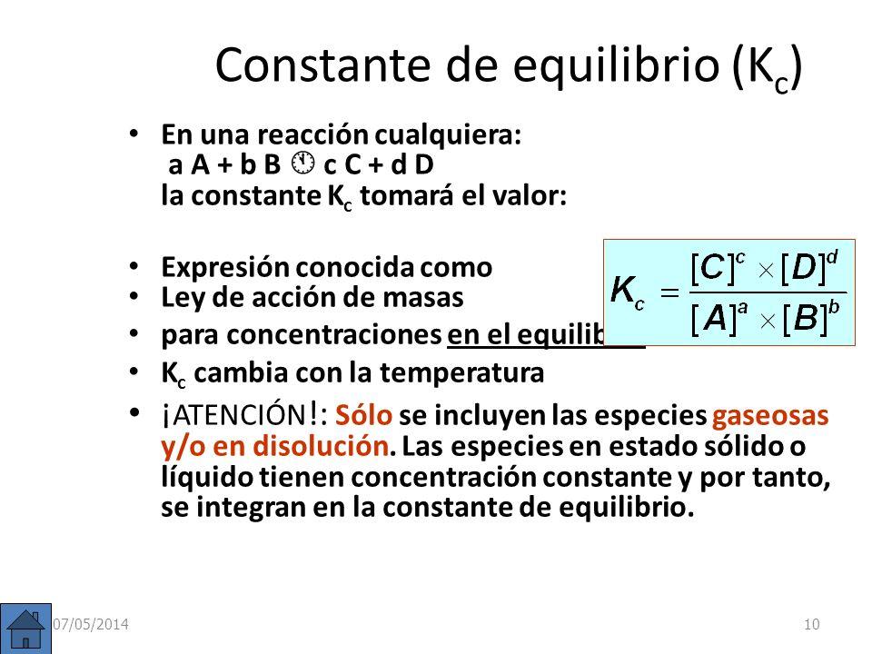 En la reacción anterior: 2 SO 2 (g) + O 2 (g) 2 SO 3 (g) Se observa que el cociente entre las concentraciones de productos y reactivos (K C )se mantie