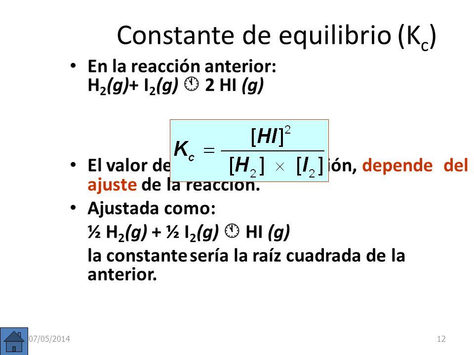 Equilibrios homogéneos Un equilibrio se denomina homogéneo cuando todas las especies se encuentran en la misma fase. Es el caso del equilibrio anterio