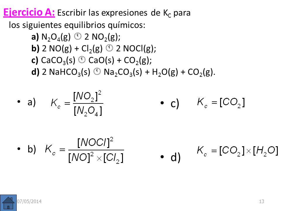 Constante de equilibrio (K c ) En la reacción anterior: H 2 (g)+ I 2 (g) 2 HI (g) El valor de K C, dada su expresión, depende del ajuste de la reacció