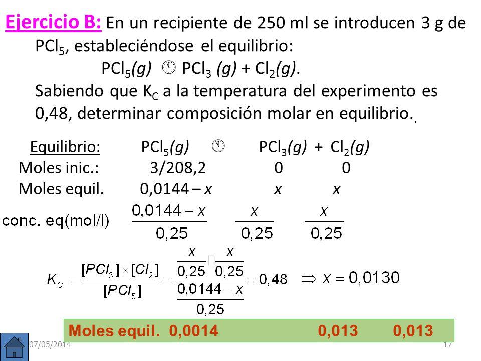 Ejemplo: En recipiente de 10 litros se introduce una mezcla de 4 moles de N 2 (g) y 12 moles de H 2 (g); a) escribir la reacción de equilibrio; b) si