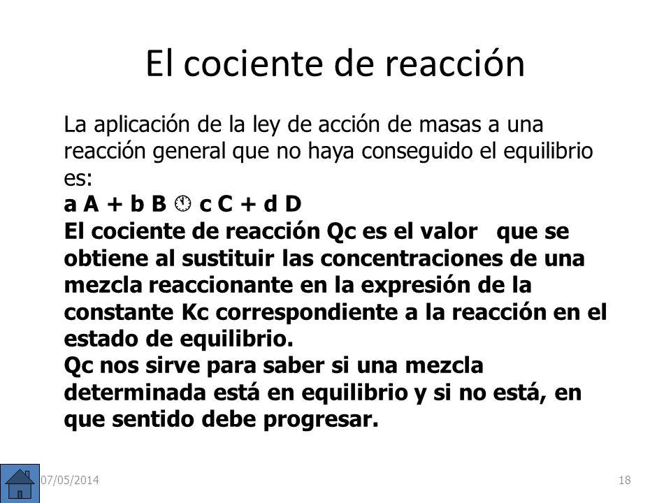 Ejercicio B: En un recipiente de 250 ml se introducen 3 g de PCl 5, estableciéndose el equilibrio: PCl 5 (g) PCl 3 (g) + Cl 2 (g). Sabiendo que K C a