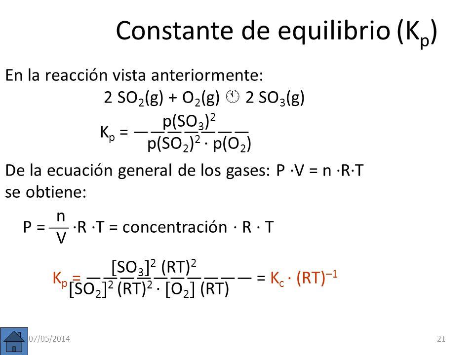 Constante de equilibrio (K p ) En las reacciones en que intervengan gases es mas sencillo medir presiones parciales que concentraciones: a A + b B c C