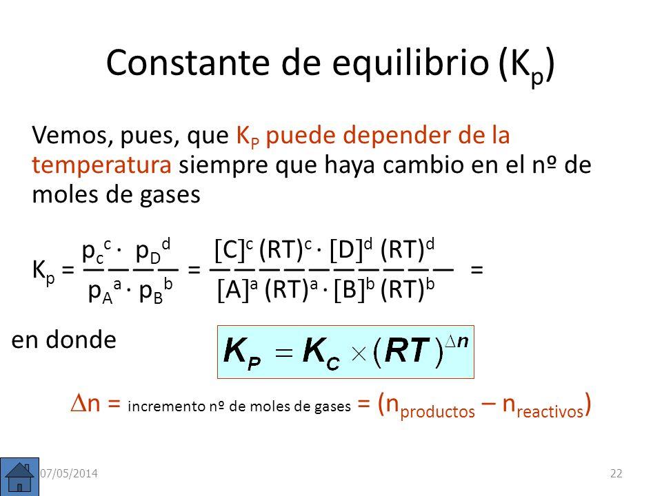 Constante de equilibrio (K p ) En la reacción vista anteriormente: 2 SO 2 (g) + O 2 (g) 2 SO 3 (g) p(SO 3 ) 2 K p = p(SO 2 ) 2 · p(O 2 ) De la ecuació