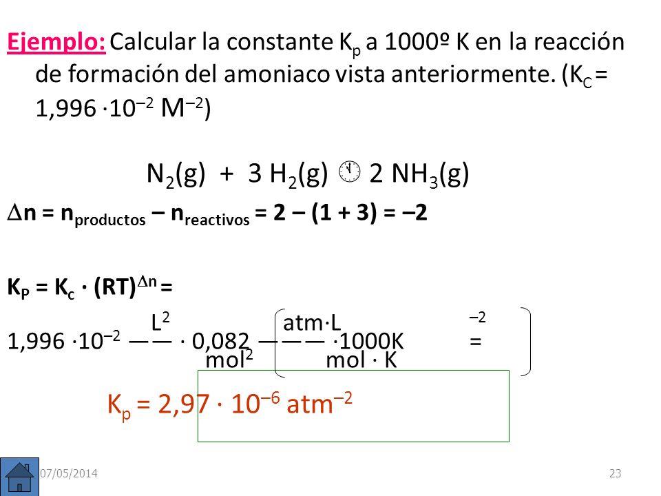 Constante de equilibrio (K p ) Vemos, pues, que K P puede depender de la temperatura siempre que haya cambio en el nº de moles de gases p c c · p D d