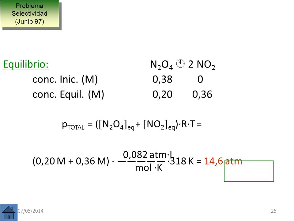 La constante de equilibrio de la reacción: N 2 O 4 2 NO 2 vale 0,671 a 45ºC. Calcule la presión total en el equilibrio en un recipiente que se ha llen