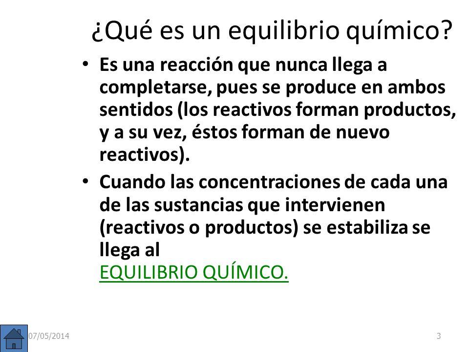 Modificaciones del equilibrio Si un sistema se encuentra en equilibrio (Q = K c ) y se produce una perturbación: Cambio en la concentración de alguno de los reactivos o productos.