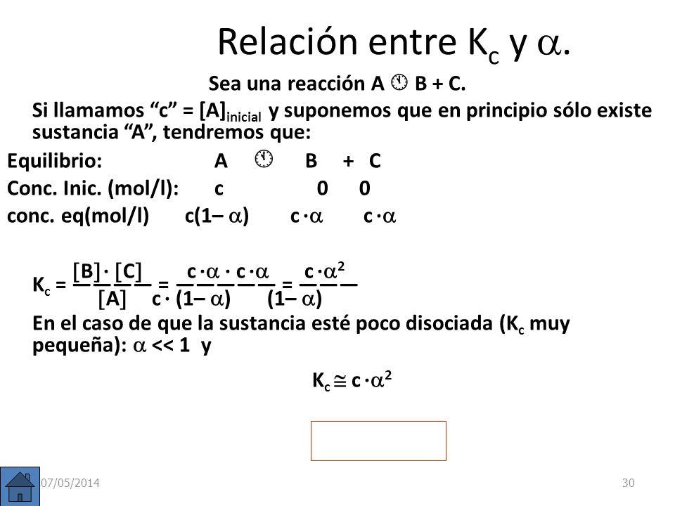 07/05/201429 PCl 5 = (2– 0,28)/5 = 0,342 mol/l PCl 3 = (1+ 0,28)/5 = 0,256 mol/l Cl 2 = 0,28 /5 = 0,056 mol/l b) Si de 2 moles de PCl 5 se disocian 0,