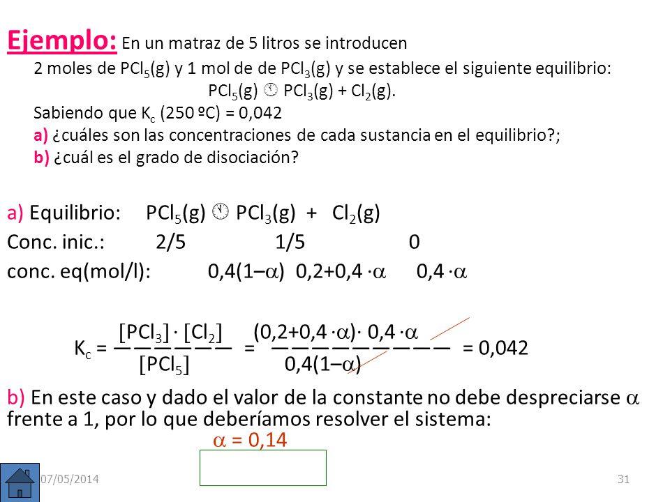 Relación entre K c y. Sea una reacción A B + C. Si llamamos c = [A] inicial y suponemos que en principio sólo existe sustancia A, tendremos que: Equil