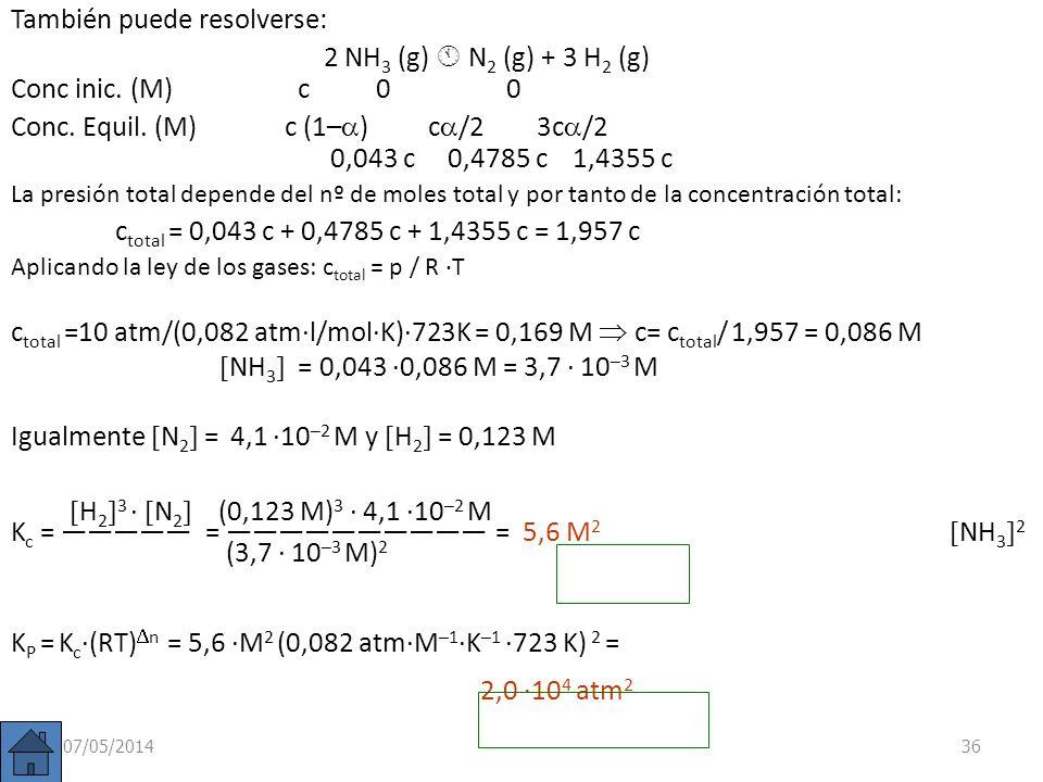 07/05/201435 p(NH 3 ) = 0,22 atm p(N 2 ) = 2,445 atm p(H 2 ) = 7,335 atm p(H 2 ) 3 p(N 2 ) (7,335 atm) 3 · 2,445 atm K p = = = p(NH 3 ) 2 (0,22 atm) 2