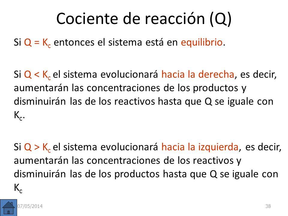 Cociente de reacción (Q) En una reacción cualquiera: a A + b B c C + d D se llama cociente de reacción a: Es la misma fórmula que la K c pero las conc