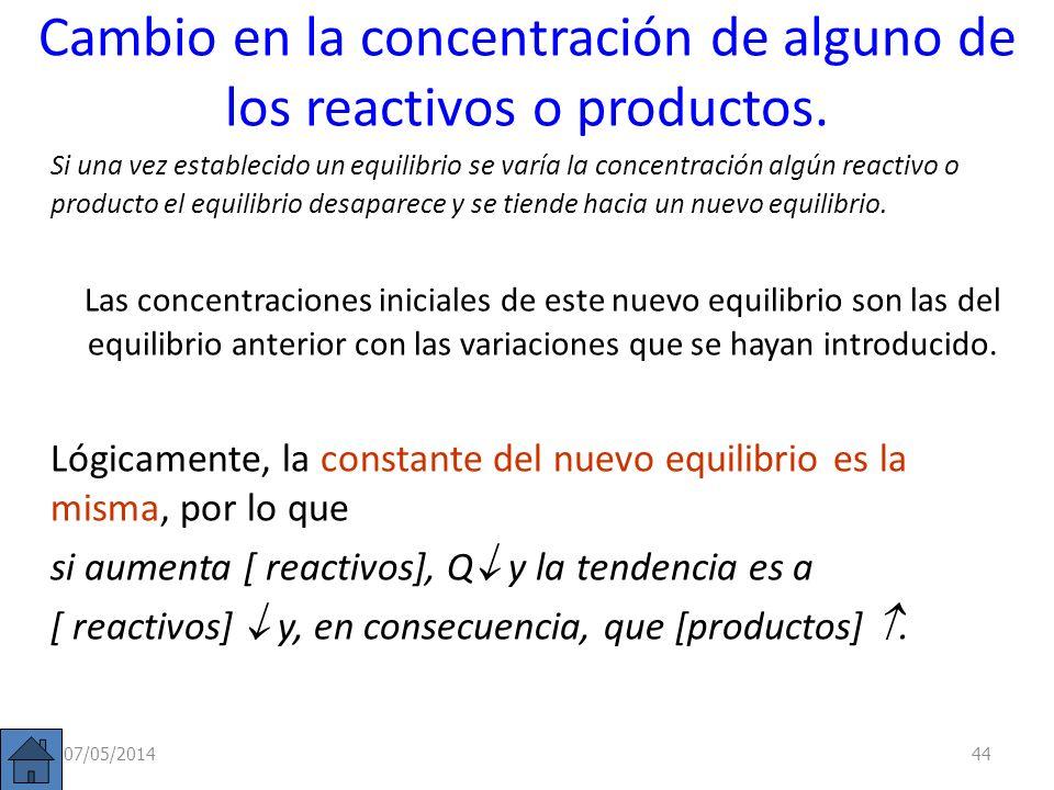 Modificaciones del equilibrio Si un sistema se encuentra en equilibrio (Q = K c ) y se produce una perturbación: Cambio en la concentración de alguno