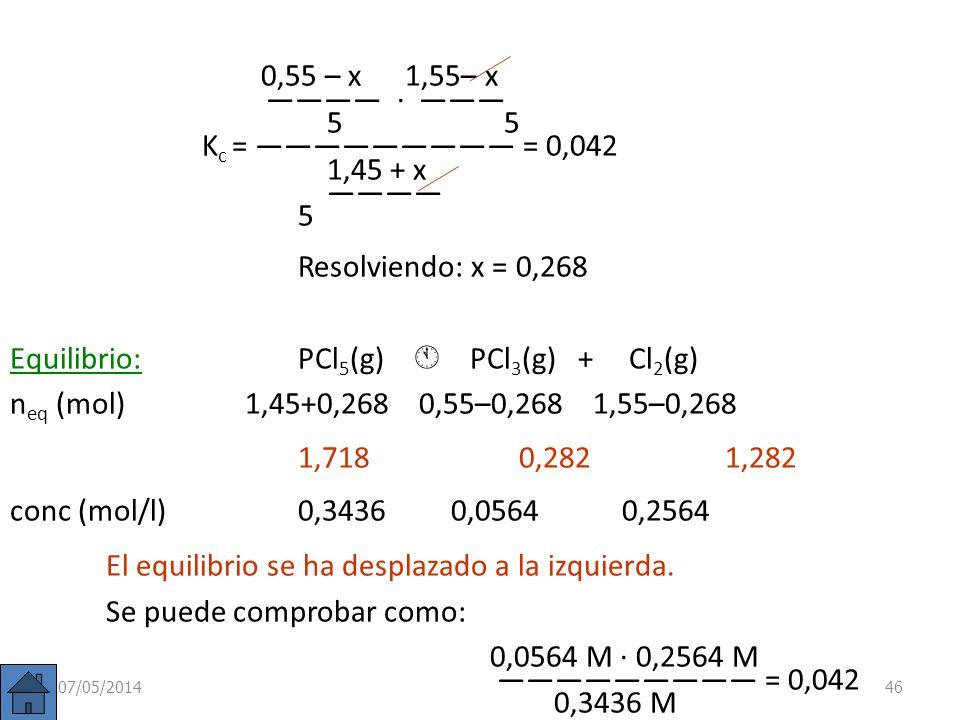 Ejemplo: En el equilibrio anterior: PCl 5 (g) PCl 3 (g) + Cl 2 (g) ya sabemos que partiendo de 2 moles de PCl 5 (g) en un volumen de 5 litros, el equi