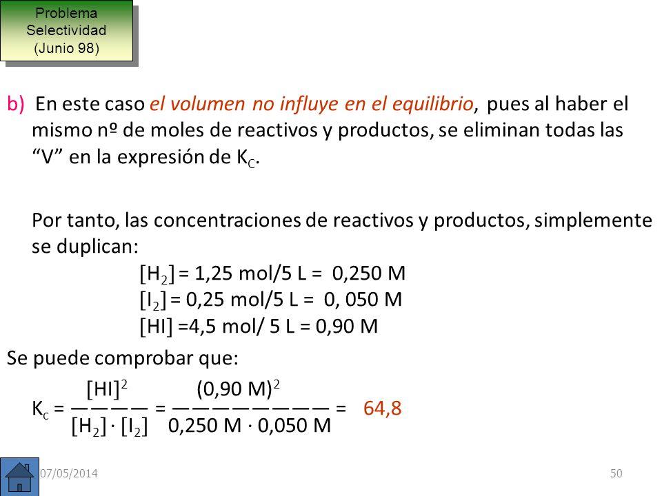 Una mezcla gaseosa constituida inicialmente por 3,5 moles de hidrógeno y 2,5 de yodo, se calienta a 400ºC con lo que al alcanzar el equilibrio se obti